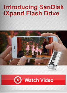 iXpand™ Flash Drive is the easiest way to transfer photos and videos between your iPhone, iPad, PCs and Mac computers. Quickly free up memory on your iPhone or iPad, and instantly expand storage by up to 64GB**.  Automatically copies photos and videos from the camera roll to the drive when connected Play all popular format videos** and music files from the drive Durable, flexible connector works with iPhone/iPad cases
