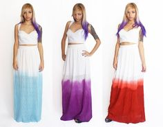 Lace Maxi Skirts Dip Dyed in Blue, Purple and Red via Etsy.