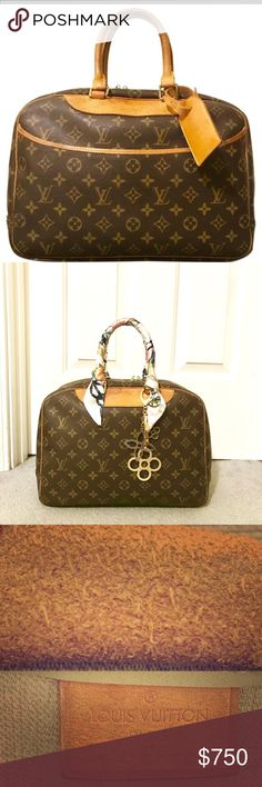 Louis Vuitton Deauville Authentic and Vintage. Louis Vuitton Monogram Canvas Leather Deauville MM. Made in France. In good condition. Piping intact. Has normal water marks. Canvas is in great shape. Date code not visible due to age. No rips or tears. Louis Vuitton Bags Satchels