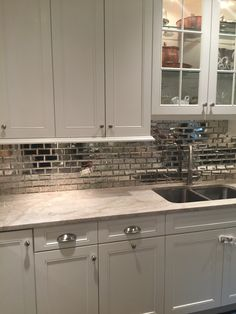 Love The Cabinet Color And Countertop Not Backsplash Simply White Kitchen Taj Mahal Quartzite Mirrored Subway Tile