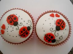 Lady Bugs In Love Cupcakes