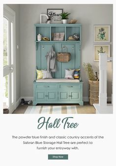 The powder blue finish and classic country accents of the Sabran Blue Storage Hall Tree are perfect to furnish your entryway with. #halltree #entryway #solidwood #shoestorage #furniture #cornerentryway #cornerhalltree #homedecor #decor #interiordecor #interior #interiordesign #bench #benchwithstorage #hanginghalltree #mahoganywood #blue #bluefurniture #bench #benchwithstorage
