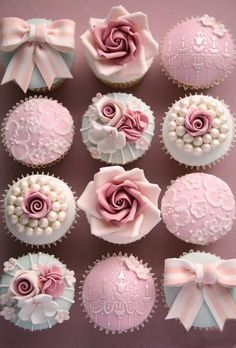 Vintage Decorated Cupcakes   perfect to colour match to wedding colour choice   pink bridesmaid dresses www.amouteternel.co.uk