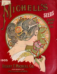 Art Nouveau style cover of Henry F. Michell Co seed catalogue 1905. 1018 Market St. Philadelphia.U.S. Department of Agriculture, Vintage printable