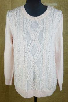 J. Crew women's 100% merino wool sweater cable knit XL pink winter wear #JCrew #CowlNeck #Work