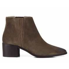 Sevenboot Lane  Honey Walnut Suede Boots: Honey is a new Chelsea boot which combines a block heel with a stunning point toe.  Sharp enough to lift any outfit.