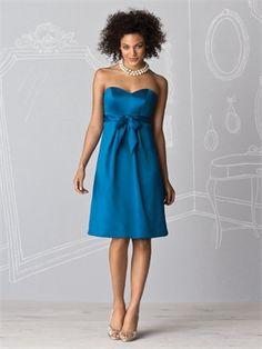 Strapless cocktail length empire waist satin bridesmaid dress BD0142