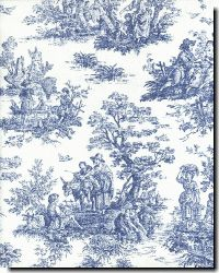 Toile de Jouy is the classic French fabric of the post-Revolution people. My favorite place to shop for unique color combinations is in Monte Martre in Paris, where close-out bolts land from large-scale design projects. Expect to pay a tiny fraction of what it originally cost. And the size, quality, and printing of the fabric far exceeds anything I've found domestically.