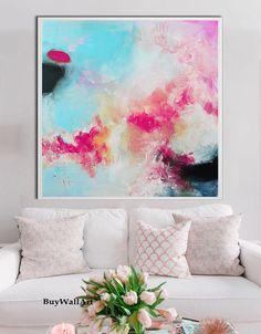 Große rosa blau Kunst abstrakte Malerei Rosa Giglee von BuyWallArt