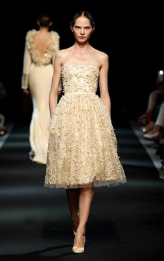 Romantic strapless embellished cocktail dress I Georges Hobeika #Couture Fall Winter 2013 #fashion #pfw