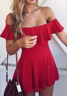 Red Plain Draped Boat Neck Sweet Polyester Mini Dress