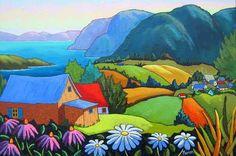 Vers le fleuve - Louise Marion, artiste peintre, paysage urbain, Quebec, couleurs
