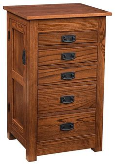 "Amish 35"" Quarter Sawn Oak Wood Mission Jewelry Armoire There are 16 necklace hooks behind the side doors. The top pops up with a mirror for viewing. Each drawer is lined in velvet with separators to keep jewelry organized. Solid quarter sawn oak wood. #jewelrybox #jewelryarmoire"
