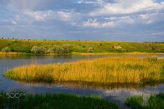 rural landscape - spring rural landscape, river field and clouds