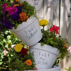 Garden Ideas Discover DIY Tiered Planter Check out these clever home gardening tips and tricks! Garden Yard Ideas, Diy Garden Decor, Garden Crafts, Garden Projects, Garden Art, Garden Design, Plant Crafts, Fence Garden, Garden Hose