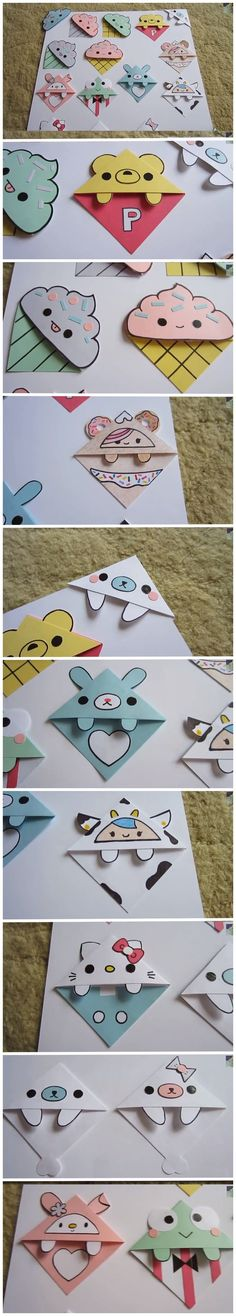 Corner bookmarks so kawaii! Kids Crafts, Cute Crafts, Crafts To Do, Diy Paper Crafts, Diy Bookmarks, Corner Bookmarks, Bookmark Ideas, Origami Bookmark, Emoji Bookmarks
