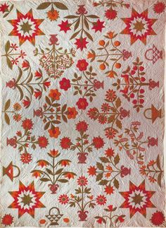 A Beautiful Pot of Flowers, 1870. Pennsylvania.  applique quilt