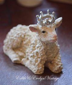 Vintage Lamb Statue with Rhinestone Crown by www.edithandevelyn.etsy.com