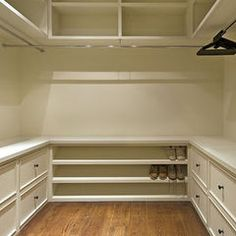 master closet- simple & efficient. Hanging with drawers & shoes under