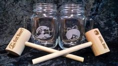 Etched Mason Jar Mug pair featuring classic Baltimore Icons - One mug with Natty Boh image and one with Utz girl. Set includes matching engraved Crab