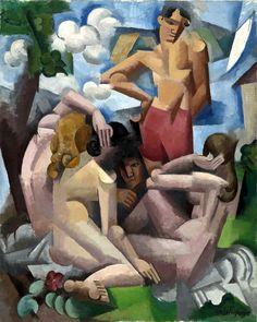 Bathers  :  Roger de la Fresnaye  :  circa 1912  cubism #Cubism