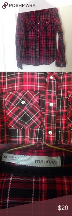 Maurices Red Plaid Lightwieght Flannel Shirt Maurices Red Plaid Flannel Shirt, so so cute! Lightweight, with button up front and buttons on sleeves- that are actually all snaps, easy! This is my daughters fav shirt, she's outgrown, but cute all year. Wrap around waist with shorts or jeans! ❤️ Bundle! Size M. Maurices Tops Button Down Shirts