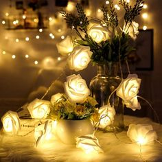 Flower Fairy Lights, Fairy Lights Wedding, Led Fairy Lights, Christmas Party Decorations, Christmas Lights, Wedding Decorations, Christmas Holiday, Holiday Lights, Christmas Ornaments