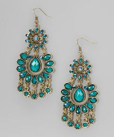 Look what I found on #zulily! Teal & Gold Floral Filigree Teardrop Earrings by Chit-Chat #zulilyfinds