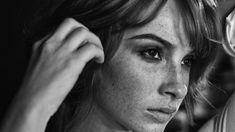 Women, Actress, Vica Kerekes, Face, Portrait, Freckles, Monochrome wallpaper