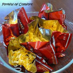 Forkful of Comfort: Walking Tacos 1 lb. ground beef, cooked and season with Taco Seasoning 1 oz. Doritos bags cheese, lettuce, tomatoes, salsa etc. (as desired) Mexican Food Recipes, Snack Recipes, Dinner Recipes, Snacks, Beef Recipes, Walking Tacos, Good Food, Yummy Food