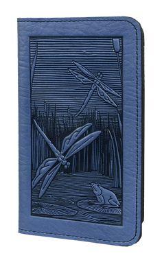 Leather Smartphone Wallet Case | Dragonfly Pond | Oberon Design