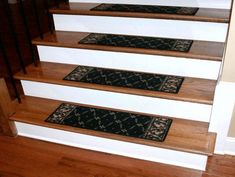Vinyl plank stair treads - When talking about decoration of interior stairs we have to take into account several aspects. It is not simply hanging Hardwood Stair Treads, Stairs Treads And Risers, Stair Tread Covers, Stair Tread Rugs, Carpet Stair Treads, Carpet Stairs, Stair Railing, Basement Stairs, Basement Ideas