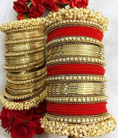 Marriage ceremony Put on Newest Bangle Designs 2018 Catalogue Indian Jewelry Sets, Indian Wedding Jewelry, Indian Bridal, Bridal Bangles, Bridal Jewelry, Stylish Jewelry, Fashion Jewelry, Chuda Bangles, Bridal Chura