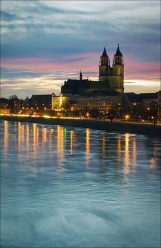 New Pink Minute Magdeburg Cathedral on the Elbe River Germany
