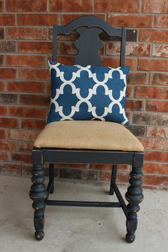Radiantly Redeemed Chair using ASCP graphite and clear AS wax.  Recovered in burlap with a navy blue and white accent pillow.