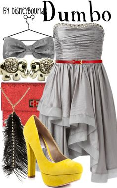 """Dumbo"" inspired outfit by Disneybound. (Don't think I'd were this combo, but I like the idea behind it.)"