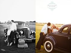 How about a vintage car and some old luggage for engagement photo props? --photo by Kristen Edwards Photography