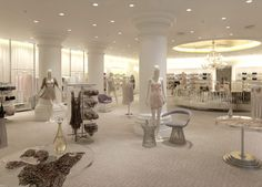 The Lingerie Department within the FENWICK department store, Bond Street, London, designed by Studio DB. A range of standard and specially manufactured display systems from PEERLESS DESIGNS for perimeter and mid floor locations, with custom engineered details to reflect this highly original design concept.