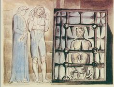 """Illustrations to John Bunyan's *The Pilgrim's Progress* By William Blake:  12 The Interpreter """"led him into a very dark room, where there sat a man in an iron cage. Now the man, to look on, seemed very sad: he sat with his eyes looking down to the ground"""""""