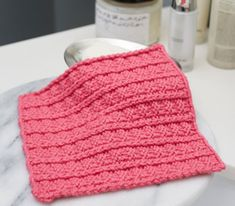 Sailor's Rib Stitch Washcloth | AllFreeKnitting.com