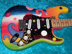Universe Fender Stratocaster Guitar Strat MIM Mexican Mexico painted in USA Guitar Painting, Guitar Art, Cool Guitar, Monterey Pop, Famous Guitars, Stratocaster Guitar, Famous Musicians, Jimmy Page, Guitar Design
