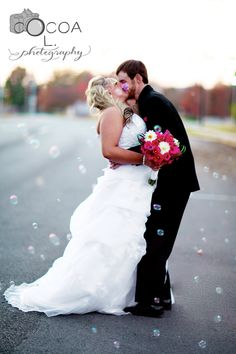 Wedding photo with bubbles. http://cocoaLphotography.com