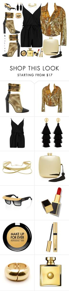 """Booties"" by marionmeyer ❤ liked on Polyvore featuring Balmain, Lillie Rubin, Boohoo, Red Herring, Serpui, Anna-Karin Karlsson, Tom Ford, MAKE UP FOR EVER, Estée Lauder and Versace"
