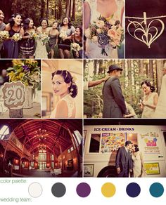 A beautiful vintage wedding at Nestldown, located in the Santa Cruz Mountains, CA - color palette: ivory, mustard, charcoal, and eggplant