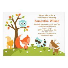 Cute Woodland Animal baby shower Invitation #babyshower
