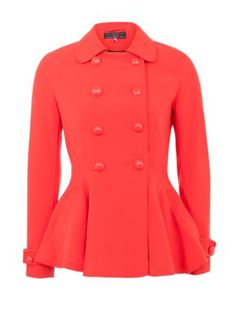 Red (Red) Red Double Button Peplum Coat | 268111360 | New Look