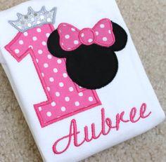 Hot Pink Princess Minnie Mouse Personalized Birthday Shirt or bodysuit,1st birthday,2nd birthday, 3rd birthday on Etsy, $25.95
