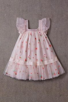 Nellystella Fiona Dress Spring Floral Tulle A beautiful dress for special . - Nellystella Fiona Dress Spring Floral Tulle A beautiful dress for special occasions by Nellystella - Girls Frock Design, Baby Dress Design, Baby Frocks Designs, Kids Frocks Design, Frocks For Girls, Little Girl Dresses, Baby Dresses, Girls Dresses Sewing, Dress Girl