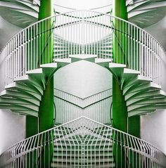 Art Deco Green & White Stairs