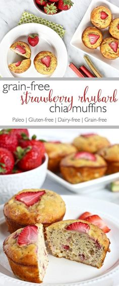 Strawberry Rhubarb Chia Muffins |Combining rhubarb and strawberries in these muffins results in the perfect balance of tart and sweet | https://simplynourishedrecipes.com/grain-free-strawberry-rhubarb-chia-muffins/